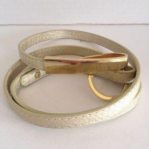 Skinny Gold Adjustable Belt Gold Tone Buckle